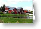 Amish Farms Greeting Cards - Grandpas Swimming Hole Greeting Card by Lydia Warner Miller