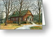 Nh Greeting Cards - Grange Hall No.44 Greeting Card by Elaine Farmer