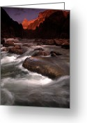 Granite Walls Greeting Cards - Granite Falls At Sunset In The Grand Greeting Card by Kate Thompson