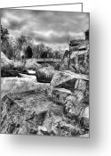 Foot Bridge Greeting Cards - Granite in Black and White Greeting Card by JC Findley