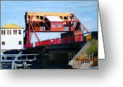 Bridge Greeting Cards Greeting Cards - Granite Street Drawbridge at Neponset River Greeting Card by Deb Putnam