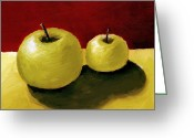 Food And Beverage Painting Greeting Cards - Granny Smith Apples Greeting Card by Michelle Calkins