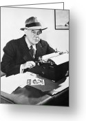 Typewriter Greeting Cards - Grantland Rice (1880-1954) Greeting Card by Granger