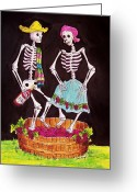 Calaveras Greeting Cards - Grape Stomping Greeting Card by Candy Mayer