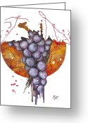 Elena Yakubovich Greeting Cards - grapes 01 - Elena Yakubovich  Greeting Card by Elena Yakubovich