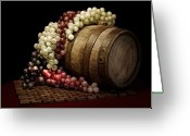 Vino Greeting Cards - Grapes and Wine Barrel Greeting Card by Tom Mc Nemar