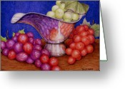 Food Pastels Greeting Cards - Grapes on Silver Greeting Card by Tanja Ware