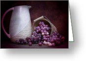 Fresh Picked Fruit Greeting Cards - Grapes with Pitcher Still Life Greeting Card by Tom Mc Nemar