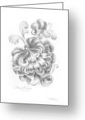 Floral Drawings Greeting Cards - Graphic Phantasy Greeting Card by Olena Kulyk