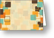 Burnt Greeting Cards - Graphic Square Pattern Greeting Card by Setsiri Silapasuwanchai