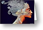 Most Mixed Media Greeting Cards - Graphism For Nefertiti Greeting Card by Paulo Zerbato