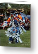Young Man Greeting Cards - Grass Dancer Greeting Card by Terril Heilman