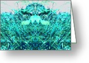 Droid Greeting Cards - Grass Spirit #android #abstract #art Greeting Card by Marianne Dow