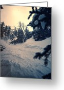 Ski Jump Greeting Cards - Grateful Shred Greeting Card by Joel Lavold
