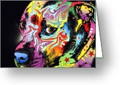 Colorful Mixed Media Greeting Cards - Gratitude Pit Bull Warrior Greeting Card by Dean Russo