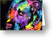 Colorful Mixed Media Greeting Cards - Gratitude Pitbull Greeting Card by Dean Russo