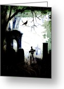 Raven Drawings Greeting Cards - Grave Situation Greeting Card by Carl Rolfe