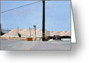 Telephone Pole Greeting Cards - Gravel Piles Downtown LA Greeting Card by Peter Wilson