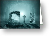 Ghostly Greeting Cards - Graves in a forest Greeting Card by Jaroslaw Grudzinski