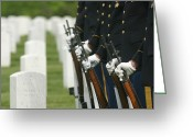 Burials Greeting Cards - Gravestones And Honor Guard Greeting Card by Skip Brown