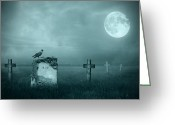Haunted  Digital Art Greeting Cards - Gravestones in moonlight Greeting Card by Jaroslaw Grudzinski