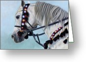 White White Horse Pastels Greeting Cards - Gray Arabian Horse - soft pastel Greeting Card by Svetlana Ledneva-Schukina