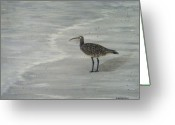 Sandpiper Greeting Cards - Gray Day Greeting Card by JoAnn Wheeler