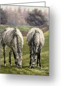 Jockeys Greeting Cards - Grazing Greeting Card by Thomas Allen Pauly