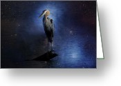 Starry Digital Art Greeting Cards - Great Blue Heron On A Starry Night Greeting Card by J Larry Walker