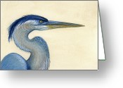Great Painting Greeting Cards - Great Blue Heron Portrait Greeting Card by Charles Harden