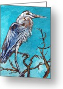 Great Painting Greeting Cards - Great Blue Heron Greeting Card by Sandy Tracey
