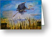 The Swamp Greeting Cards - Great Blue Heron Greeting Card by Terry Honstead