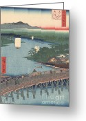 1856 Japanese Woodcut Greeting Cards - Great Bridge at Senju Greeting Card by Padre Art