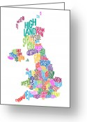 Word Map Greeting Cards - Great Britain County Text Map Greeting Card by Michael Tompsett
