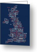 Wales Greeting Cards - Great Britain UK City text Map Greeting Card by Michael Tompsett