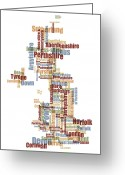 Britain Greeting Cards - Great Britain UK County Text Map Greeting Card by Michael Tompsett