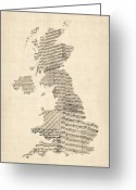 Sheet Music Digital Art Greeting Cards - Great Britain UK Old Sheet Music Map Greeting Card by Michael Tompsett