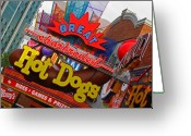 Amusement Parks Greeting Cards - Great Charbroiled Hot Dogs Greeting Card by Elizabeth Hoskinson