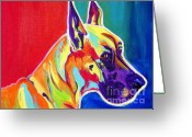 Great Painting Greeting Cards - Great Dane - Rainbow Dane Greeting Card by Alicia VanNoy Call