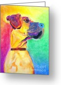 Great Painting Greeting Cards - Great Dane - Rapture Greeting Card by Alicia VanNoy Call