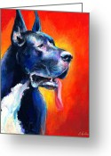 Commissioned Greeting Cards - Great Dane dog portrait Greeting Card by Svetlana Novikova
