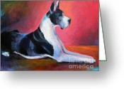 Custom Pet Portraits From Photos Drawings Greeting Cards - Great Dane painting Svetlana Novikova Greeting Card by Svetlana Novikova