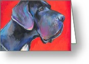 Commissioned Greeting Cards - Great dane painting Greeting Card by Svetlana Novikova