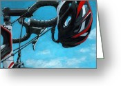 Bicycle Greeting Cards - Great Day - bicycle oil painting Greeting Card by Linda Apple