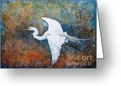 Most Painting Greeting Cards - Great Egret  Greeting Card by Zaira Dzhaubaeva