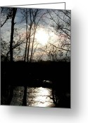 Virginia Pyrography Greeting Cards - Great Falls at Dusk - Great Falls Virginia Greeting Card by Fareeha Khawaja