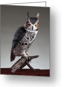 Great Sculpture Greeting Cards - Great Horned Owl Greeting Card by Monte Burzynski