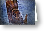 Owl Digital Art Greeting Cards - Great-Horned Owl Nest Greeting Card by J Larry Walker