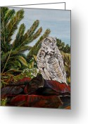 Pine Trees Painting Greeting Cards - Great Horned Owl - Owl on the rocks Greeting Card by Marilyn  McNish