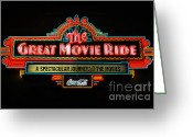 Travelpixpro Greeting Cards - Great Movie Ride Neon Sign Hollywood Studios Walt Disney World Prints Greeting Card by Shawn OBrien